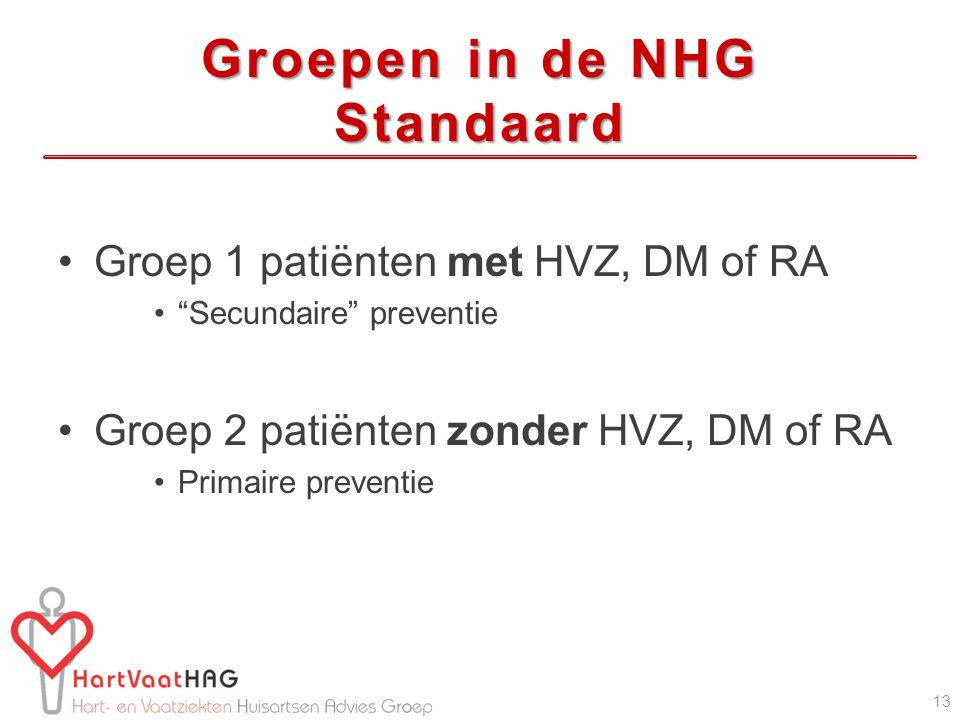 "Groepen in de NHG Standaard Groep 1 patiënten met HVZ, DM of RA ""Secundaire"" preventie Groep 2 patiënten zonder HVZ, DM of RA Primaire preventie 13"