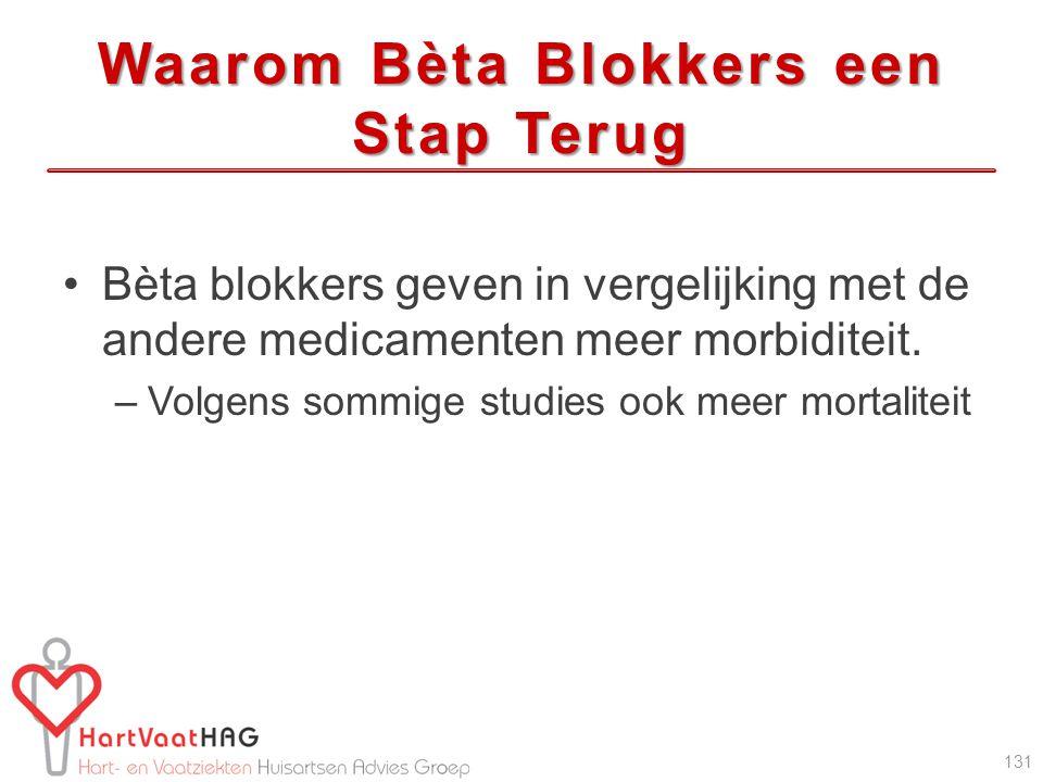 Waarom Bèta Blokkers een Stap Terug Bèta blokkers geven in vergelijking met de andere medicamenten meer morbiditeit. –Volgens sommige studies ook meer