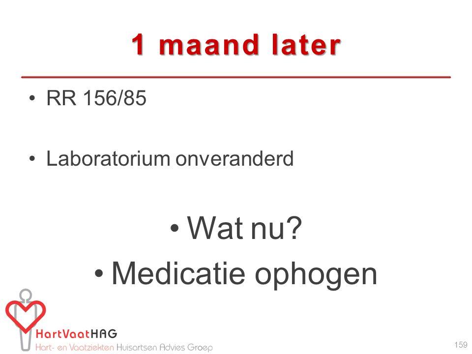1 maand later RR 156/85 Laboratorium onveranderd Wat nu? Medicatie ophogen 159
