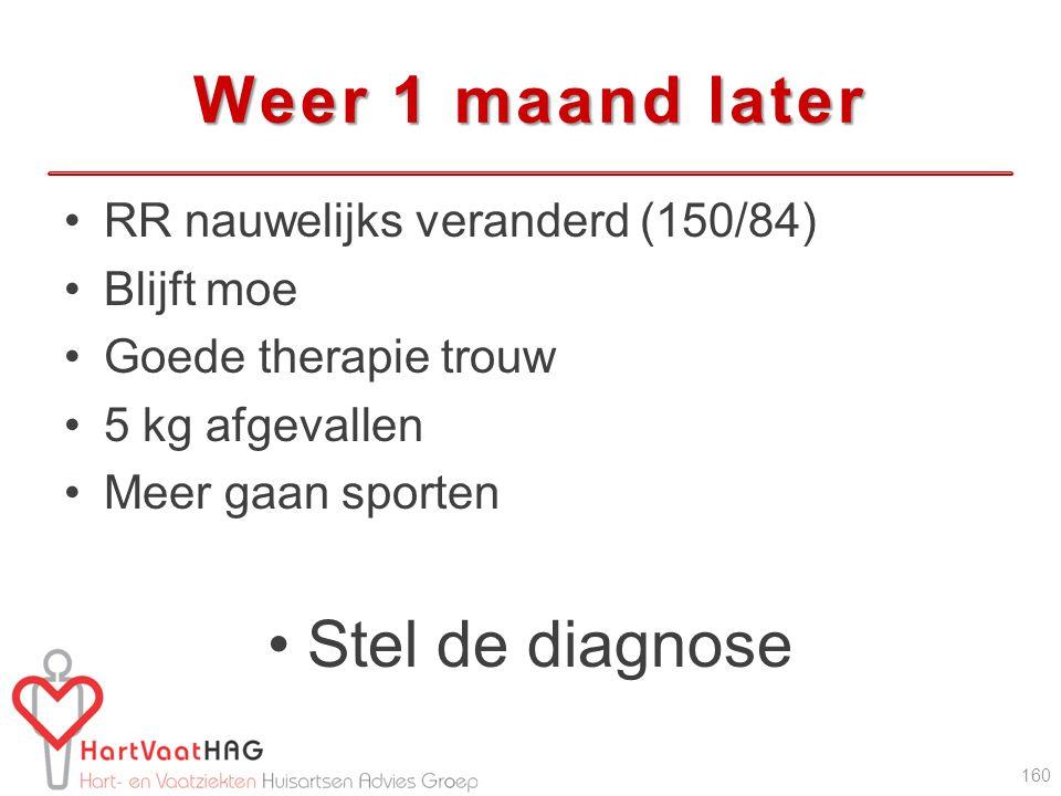 Weer 1 maand later RR nauwelijks veranderd (150/84) Blijft moe Goede therapie trouw 5 kg afgevallen Meer gaan sporten Stel de diagnose 160