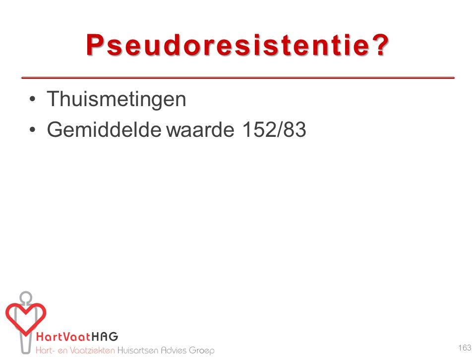 Pseudoresistentie? Thuismetingen Gemiddelde waarde 152/83 163