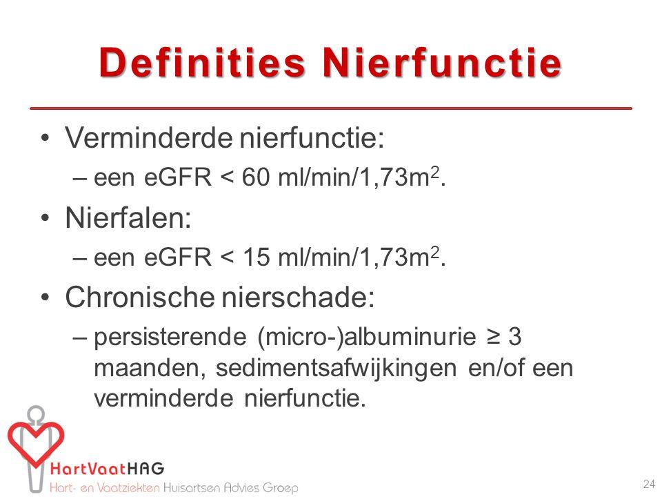 Definities Nierfunctie Verminderde nierfunctie: –een eGFR < 60 ml/min/1,73m 2. Nierfalen: –een eGFR < 15 ml/min/1,73m 2. Chronische nierschade: –persi