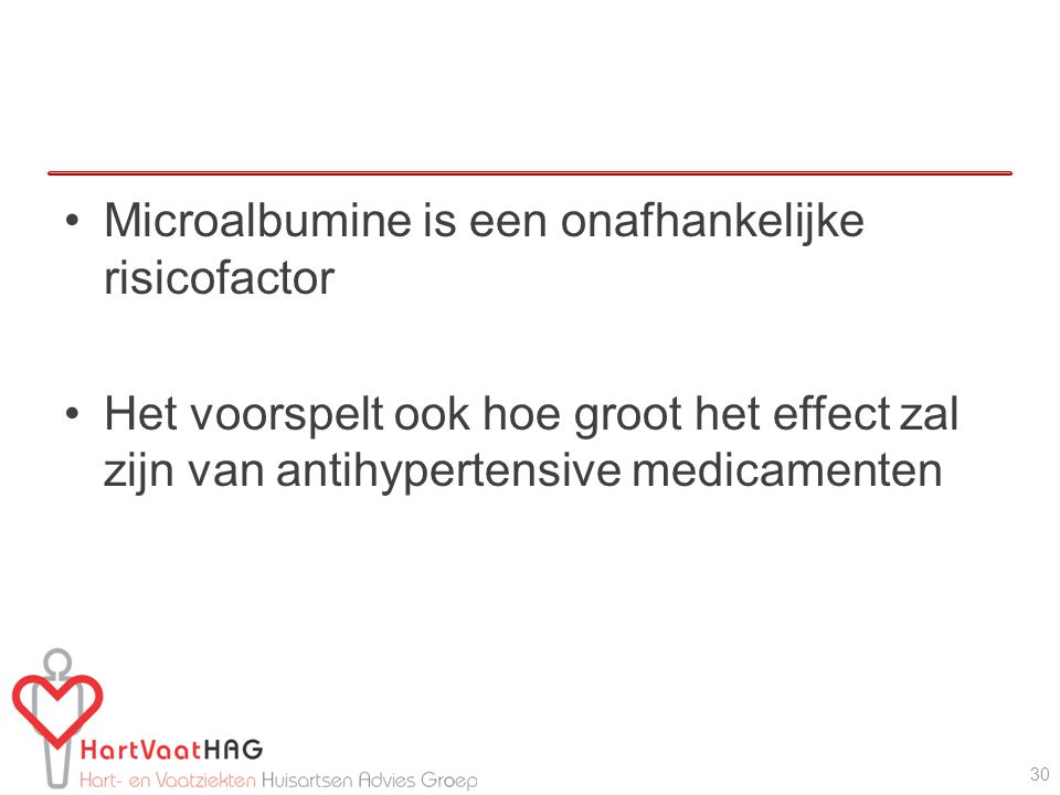 Microalbumine is een onafhankelijke risicofactor Het voorspelt ook hoe groot het effect zal zijn van antihypertensive medicamenten 30