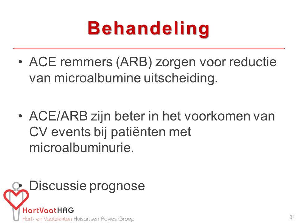 Behandeling ACE remmers (ARB) zorgen voor reductie van microalbumine uitscheiding. ACE/ARB zijn beter in het voorkomen van CV events bij patiënten met