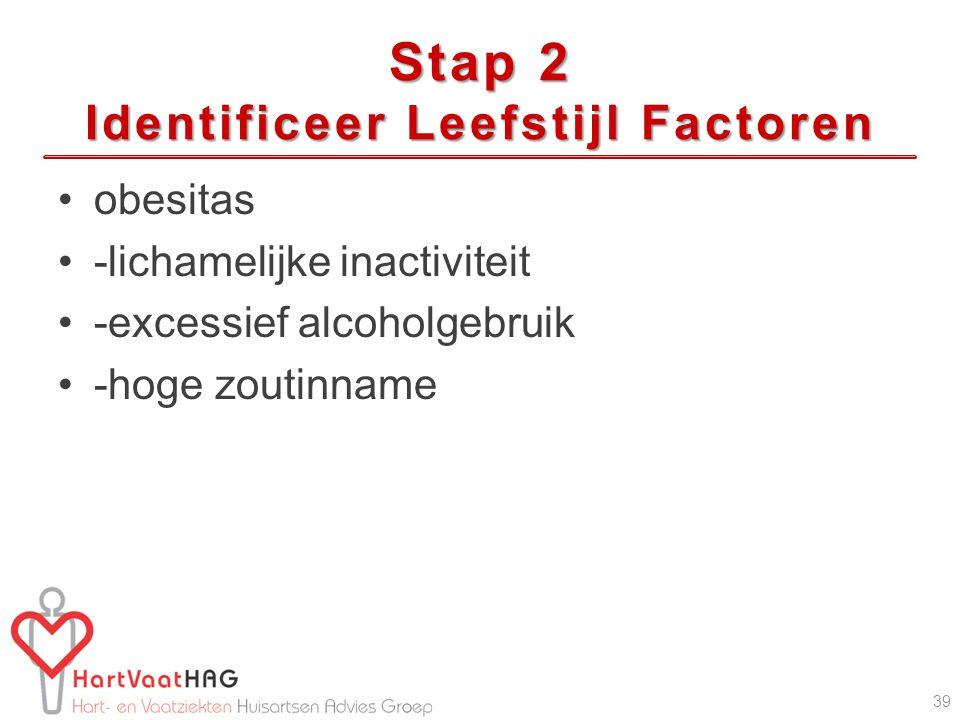 Stap 2 Identificeer Leefstijl Factoren obesitas -lichamelijke inactiviteit -excessief alcoholgebruik -hoge zoutinname 39