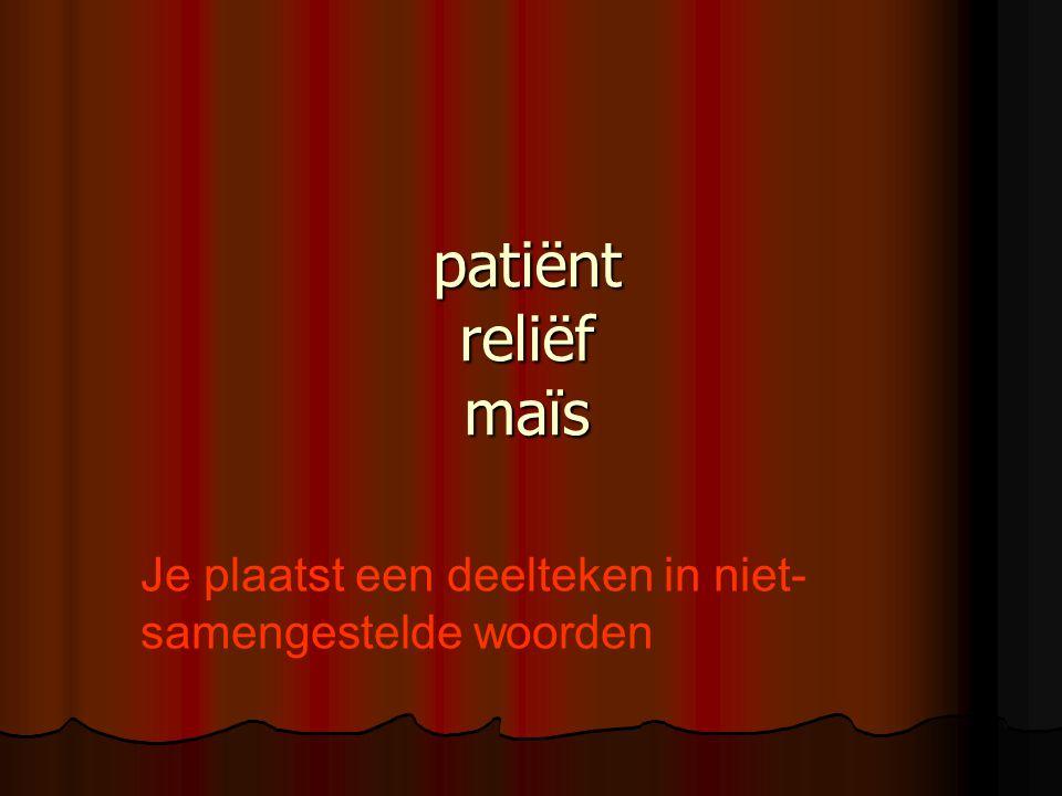 patiënt reliëf maïs Je plaatst een deelteken in niet- samengestelde woorden