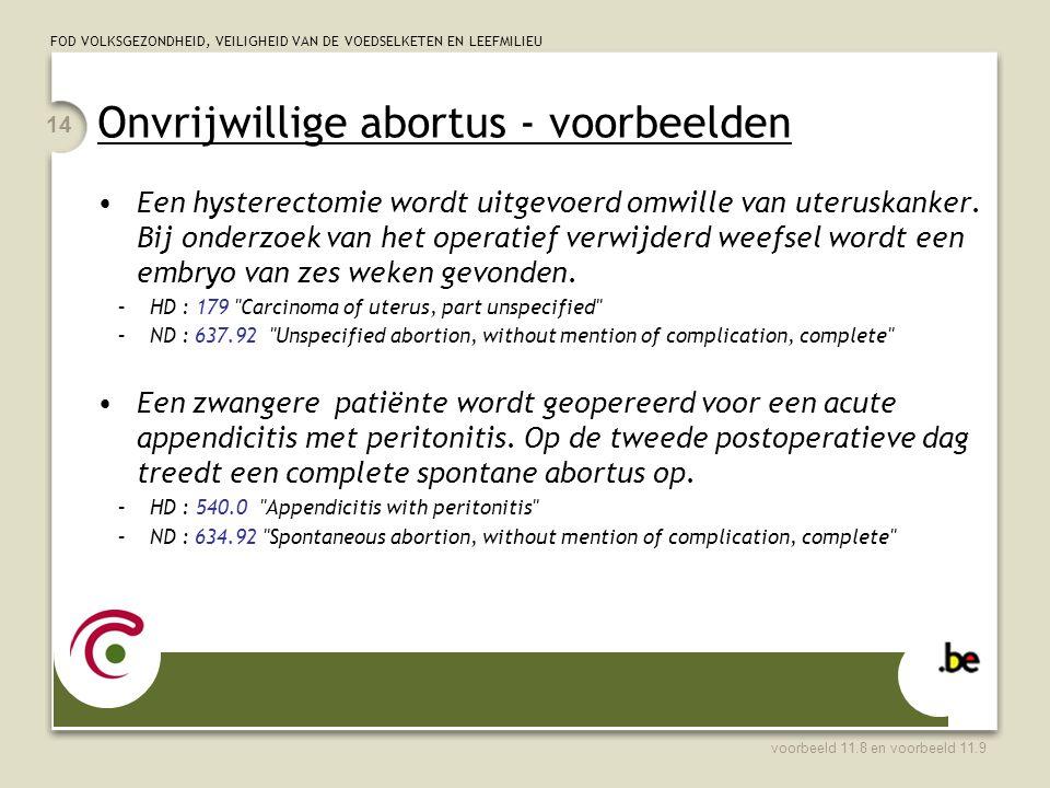 FOD VOLKSGEZONDHEID, VEILIGHEID VAN DE VOEDSELKETEN EN LEEFMILIEU Onvrijwillige abortus - voorbeelden Een hysterectomie wordt uitgevoerd omwille van uteruskanker.