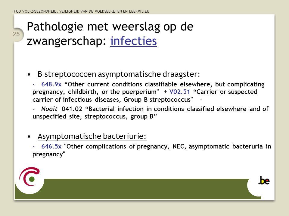FOD VOLKSGEZONDHEID, VEILIGHEID VAN DE VOEDSELKETEN EN LEEFMILIEU Pathologie met weerslag op de zwangerschap: infecties B streptococcen asymptomatische draagster: –648.9x Other current conditions classifiable elsewhere, but complicating pregnancy, childbirth, or the puerperium + V02.51 Carrier or suspected carrier of infectious diseases, Group B streptococcus - –Nooit 041.02 Bacterial infection in conditions classified elsewhere and of unspecified site, streptococcus, group B Asymptomatische bacteriurie: –646.5x Other complications of pregnancy, NEC, asymptomatic bacteruria in pregnancy 25