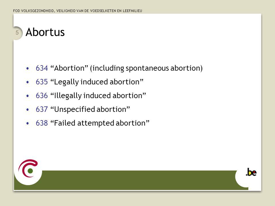 FOD VOLKSGEZONDHEID, VEILIGHEID VAN DE VOEDSELKETEN EN LEEFMILIEU 6 Abortus – voorbeelden Een patiënte wordt in de 20ste zwangerschapweek opgenomen omwille van hevige pijn in de onderbuik.