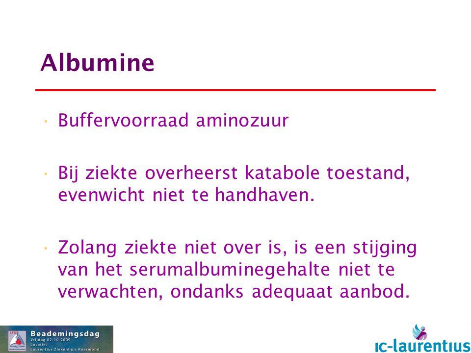 Albumine Buffervoorraad aminozuur Bij ziekte overheerst katabole toestand, evenwicht niet te handhaven. Zolang ziekte niet over is, is een stijging va