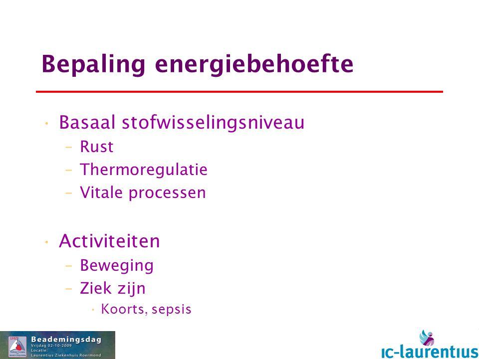 Bepaling energiebehoefte Basaal stofwisselingsniveau –Rust –Thermoregulatie –Vitale processen Activiteiten –Beweging –Ziek zijn Koorts, sepsis