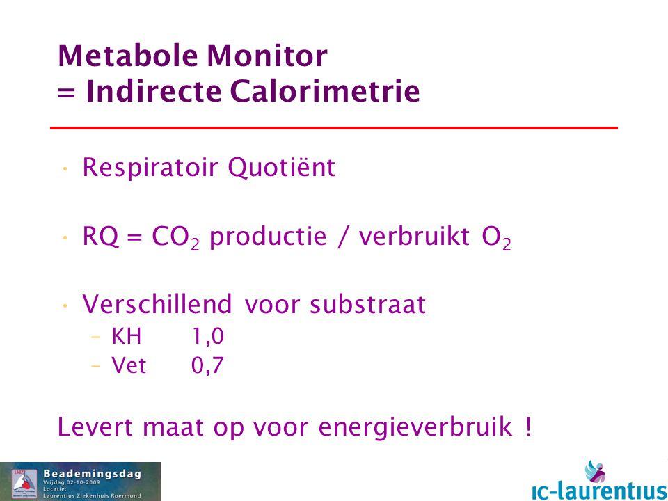 Metabole Monitor = Indirecte Calorimetrie Respiratoir Quotiënt RQ = CO 2 productie / verbruikt O 2 Verschillend voor substraat –KH1,0 –Vet0,7 Levert m
