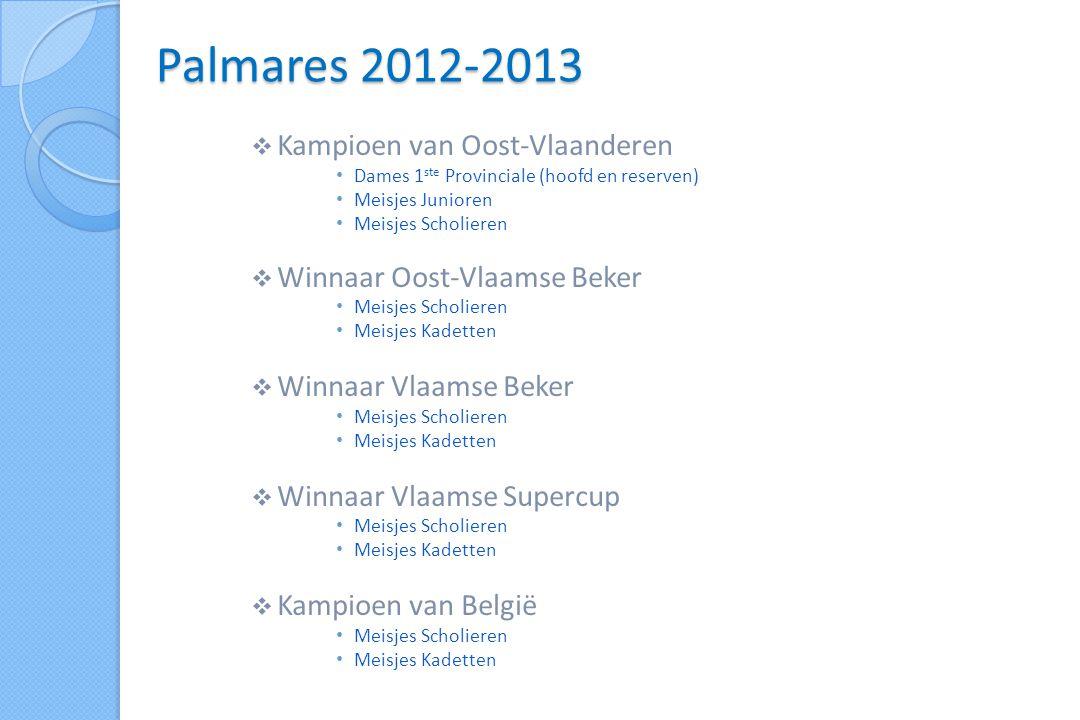  Kampioen van Oost-Vlaanderen Dames 2 de Provinciale Heren 1 ste Provinciale reserven  Winnaar Oost-Vlaamse Beker Meisjes Scholieren Meisjes Pre-Miniemen  Kampioen VOBOG Heren B-Voc Reeks 2 Palmares 2013-2014