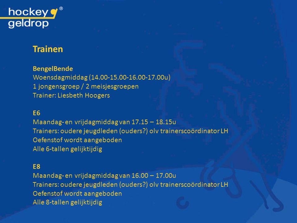 Trainen BengelBende Woensdagmiddag (14.00-15.00-16.00-17.00u) 1 jongensgroep / 2 meisjesgroepen Trainer: Liesbeth Hoogers E6 Maandag- en vrijdagmiddag