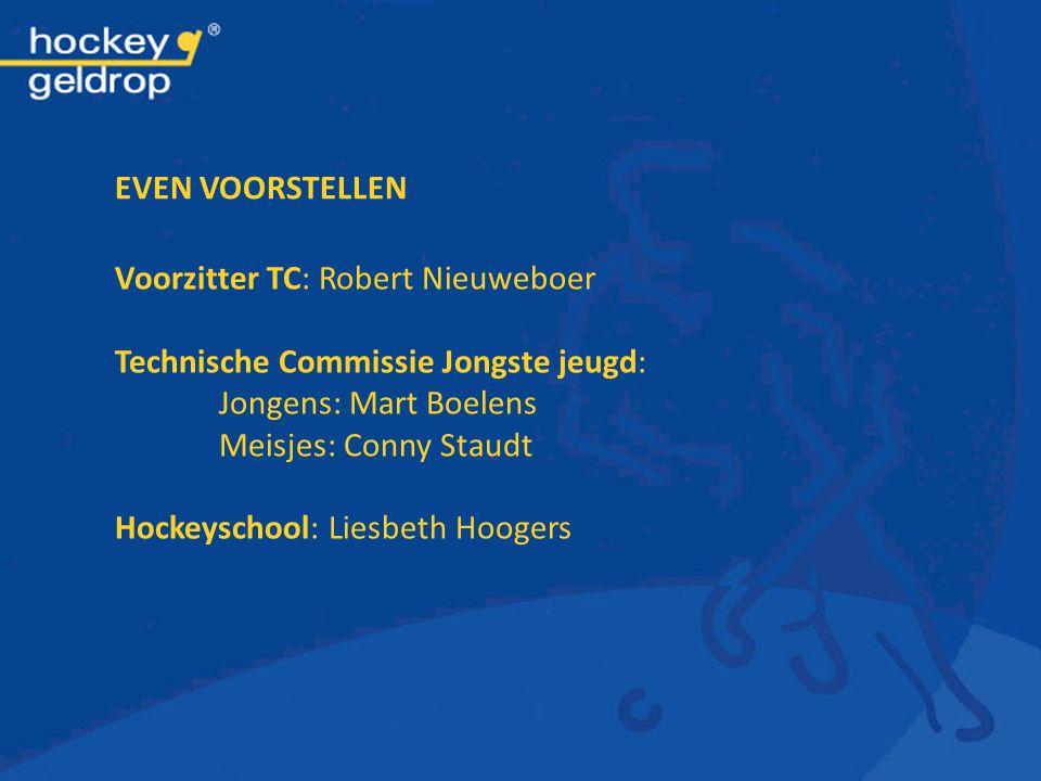 EVEN VOORSTELLEN Voorzitter TC: Robert Nieuweboer Technische Commissie Jongste jeugd: Jongens: Mart Boelens Meisjes: Conny Staudt Hockeyschool: Liesbe