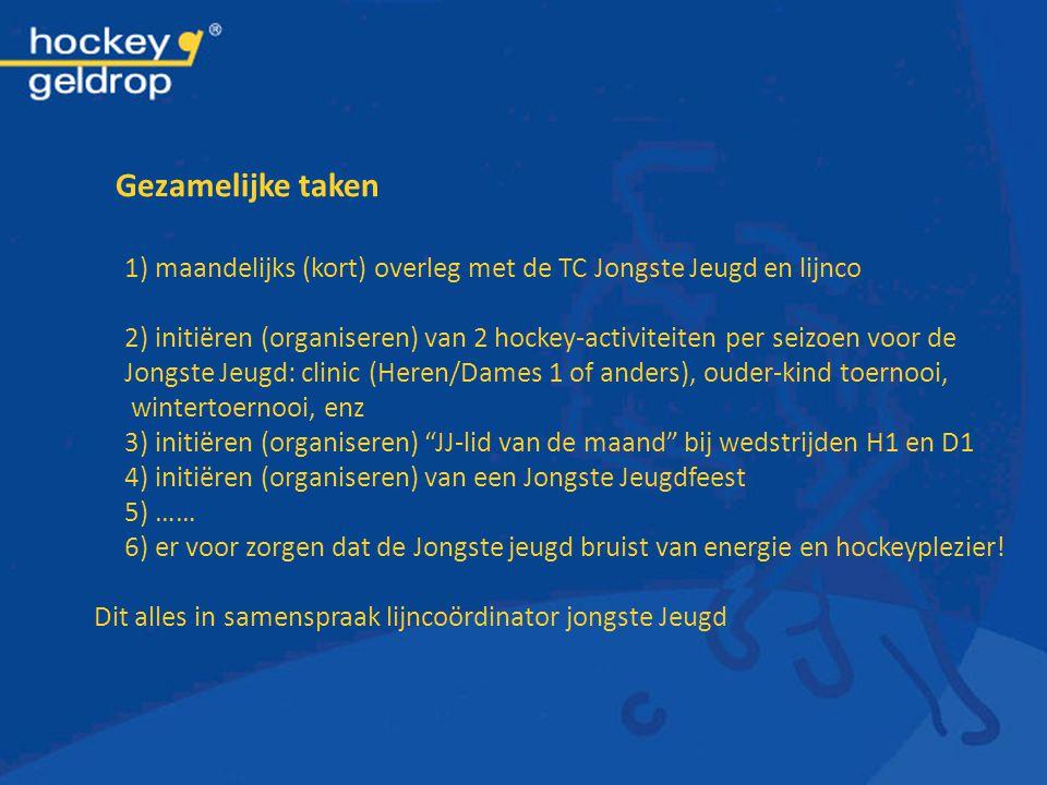 1) maandelijks (kort) overleg met de TC Jongste Jeugd en lijnco 2) initiëren (organiseren) van 2 hockey-activiteiten per seizoen voor de Jongste Jeugd