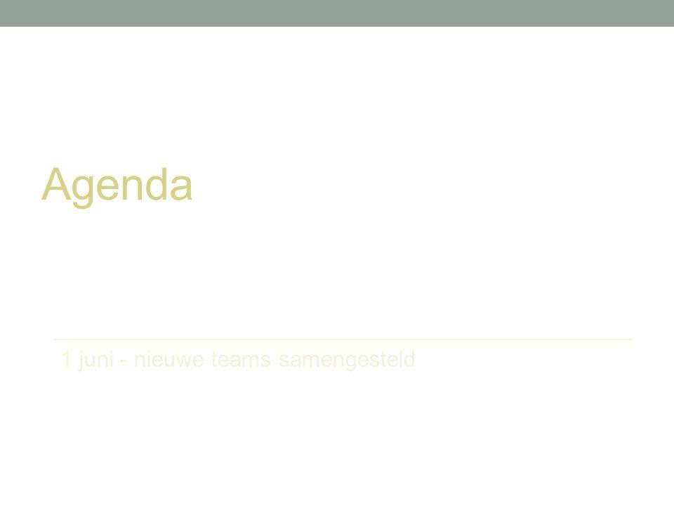 Agenda 1 juni - nieuwe teams samengesteld