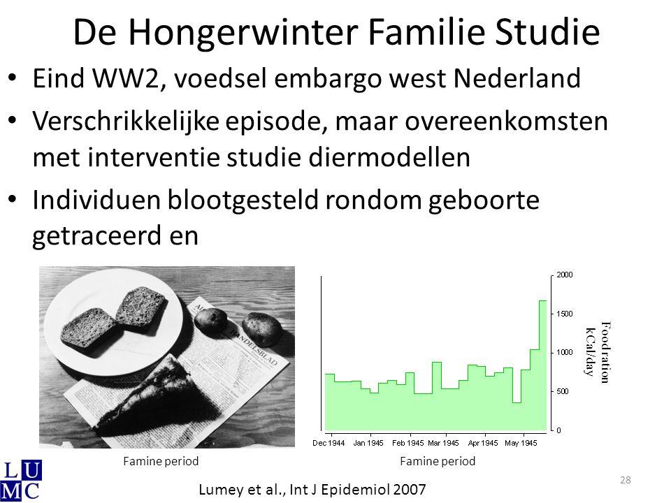 De Hongerwinter Familie Studie Eind WW2, voedsel embargo west Nederland Verschrikkelijke episode, maar overeenkomsten met interventie studie diermodel
