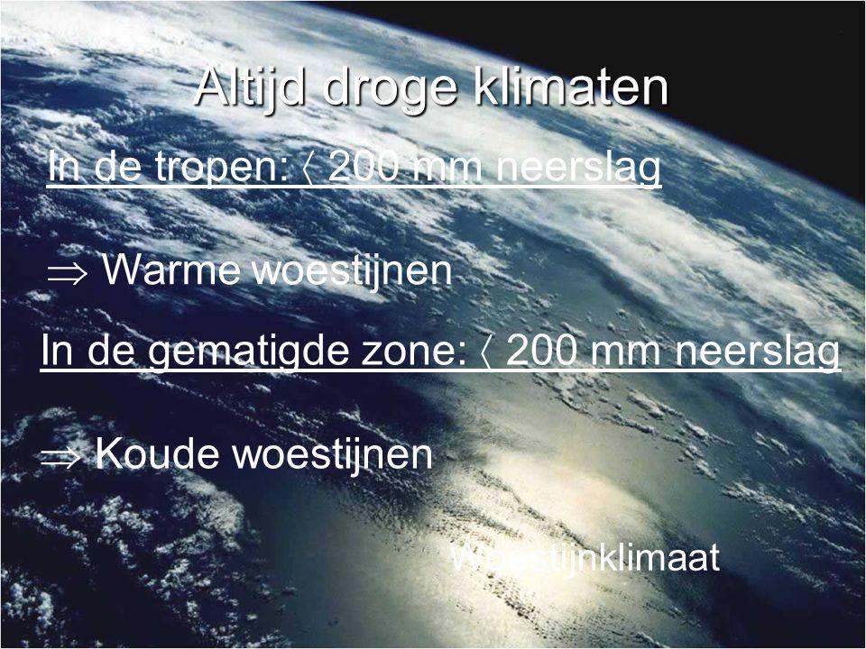 Altijd droge klimaten In de tropen:  200 mm neerslag  Warme woestijnen In de gematigde zone:  200 mm neerslag  Koude woestijnen Woestijnklimaat