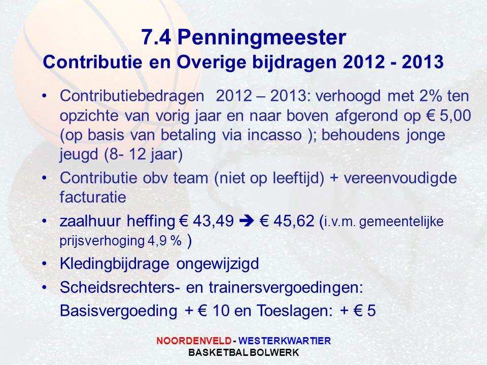 NOORDENVELD - WESTERKWARTIER BASKETBAL BOLWERK 7.4 Penningmeester Contributie en Overige bijdragen 2012 - 2013 Contributiebedragen 2012 – 2013: verhoo