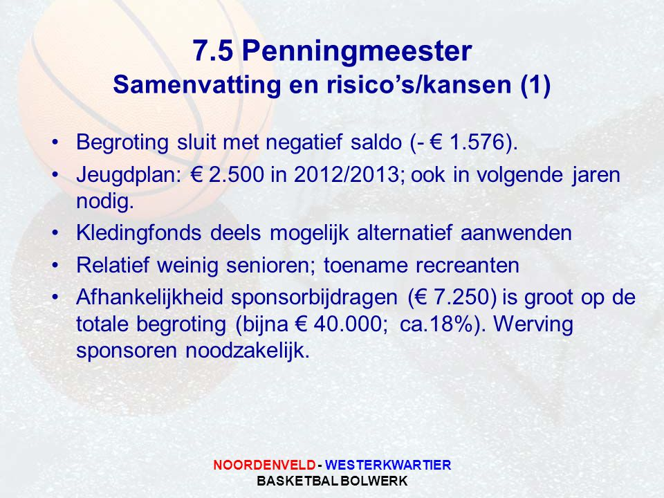 NOORDENVELD - WESTERKWARTIER BASKETBAL BOLWERK 7.5 Penningmeester Samenvatting en risico's/kansen (1) Begroting sluit met negatief saldo (- € 1.576).
