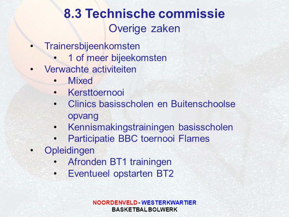NOORDENVELD - WESTERKWARTIER BASKETBAL BOLWERK 8.3 Technische commissie Overige zaken Trainersbijeenkomsten 1 of meer bijeekomsten Verwachte activitei