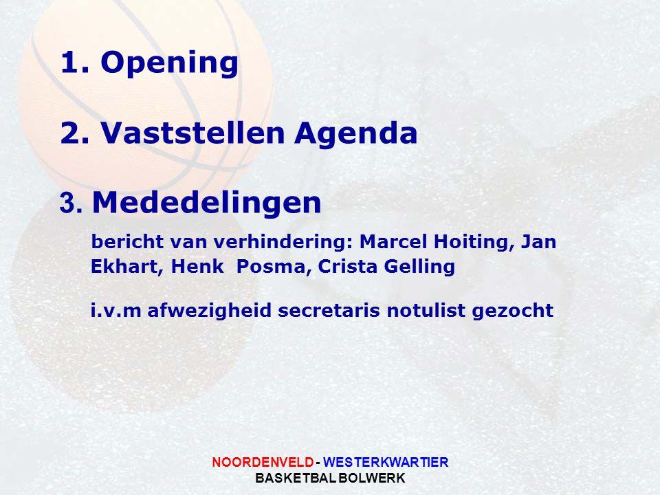 NOORDENVELD - WESTERKWARTIER BASKETBAL BOLWERK 1. Opening 2. Vaststellen Agenda 3. Mededelingen bericht van verhindering: Marcel Hoiting, Jan Ekhart,