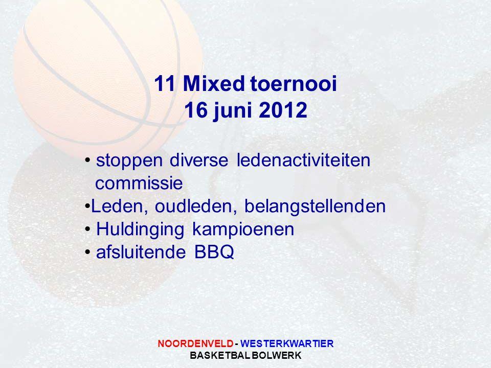 NOORDENVELD - WESTERKWARTIER BASKETBAL BOLWERK 11 Mixed toernooi 16 juni 2012 stoppen diverse ledenactiviteiten commissie Leden, oudleden, belangstell