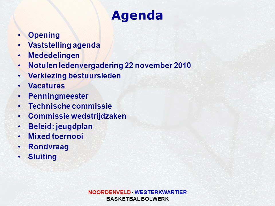 NOORDENVELD - WESTERKWARTIER BASKETBAL BOLWERK Agenda Opening Vaststelling agenda Mededelingen Notulen ledenvergadering 22 november 2010 Verkiezing be