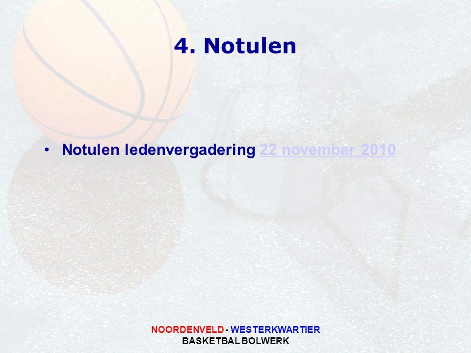 NOORDENVELD - WESTERKWARTIER BASKETBAL BOLWERK 4. Notulen Notulen ledenvergadering 22 november 201022 november 2010