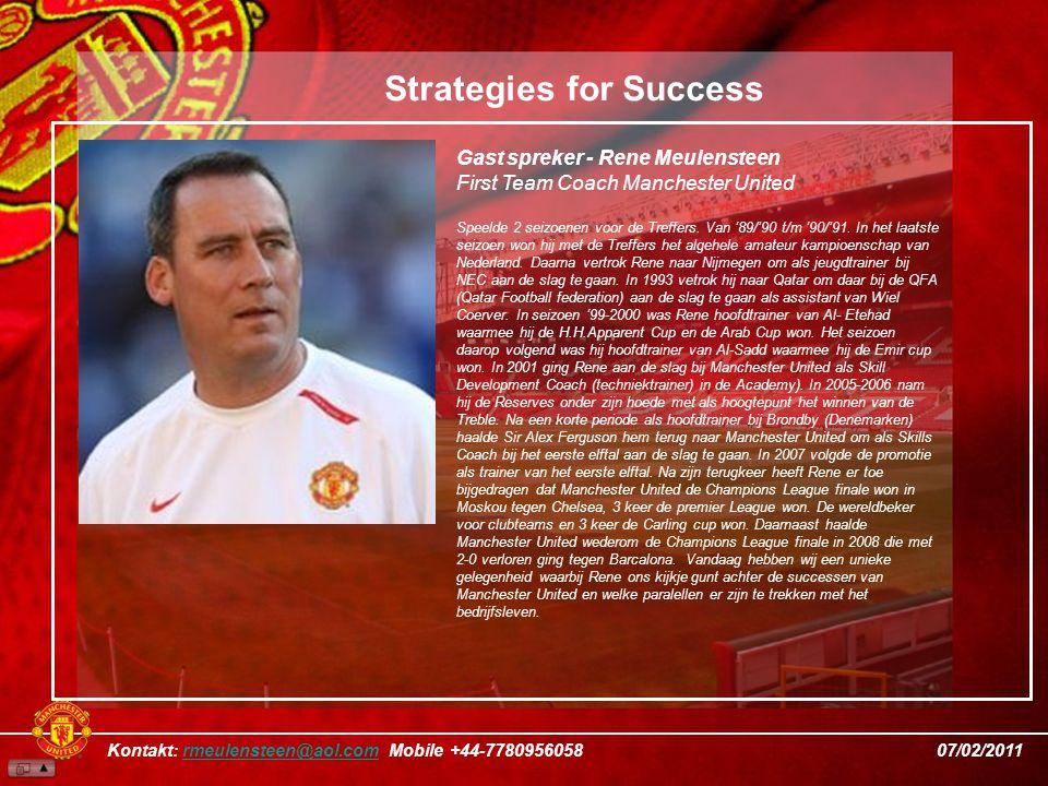 Gast spreker - Rene Meulensteen First Team Coach Manchester United Speelde 2 seizoenen voor de Treffers.