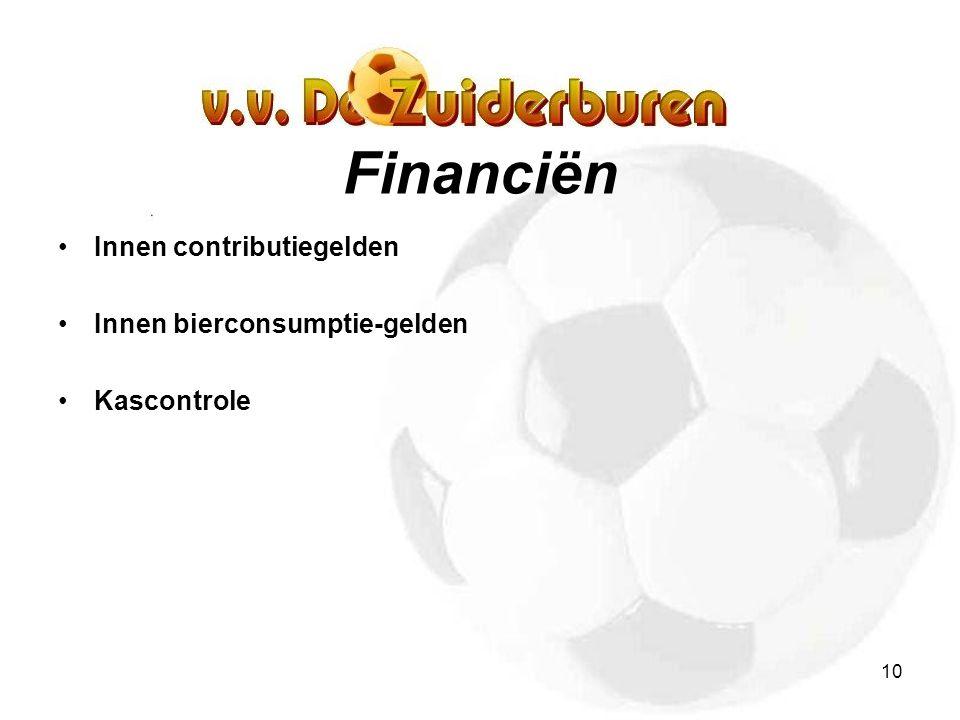 10 Financiën Innen contributiegelden Innen bierconsumptie-gelden Kascontrole