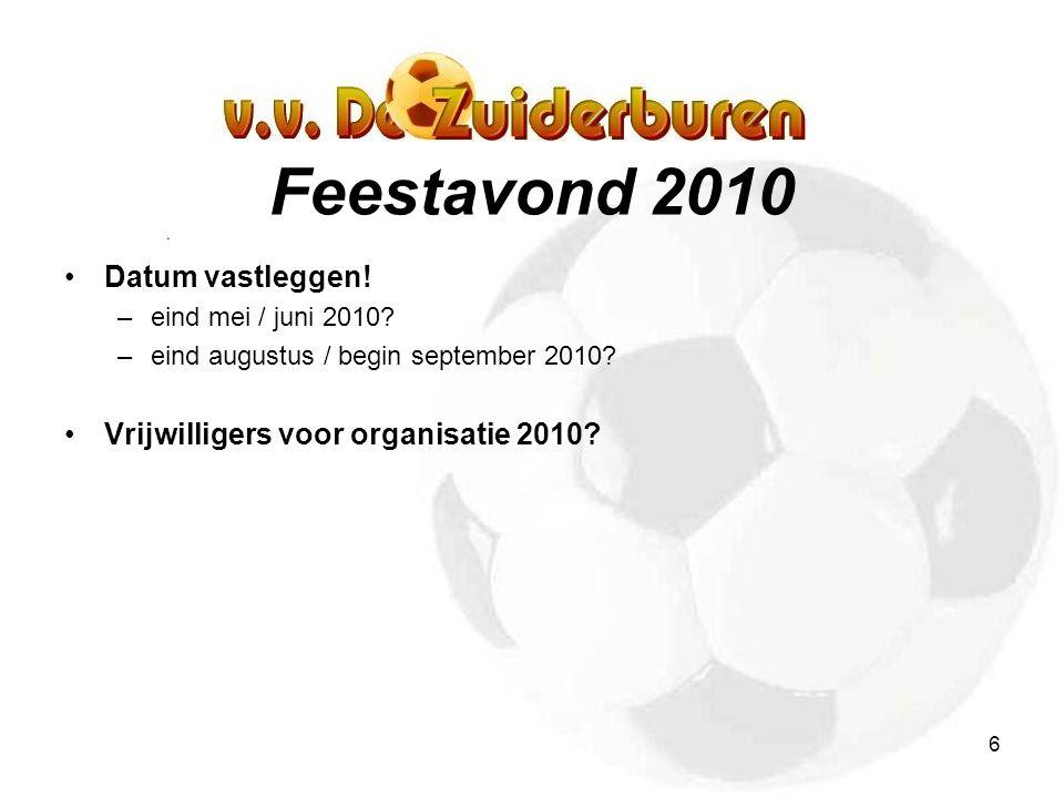 6 Feestavond 2010 Datum vastleggen.–eind mei / juni 2010.