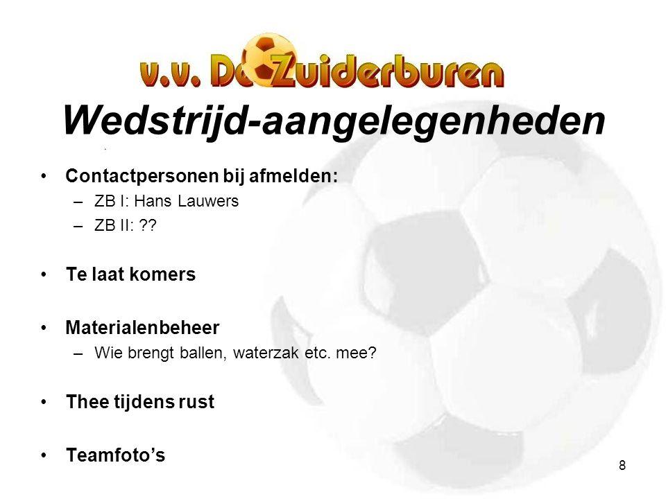 8 Wedstrijd-aangelegenheden Contactpersonen bij afmelden: –ZB I: Hans Lauwers –ZB II: ?.