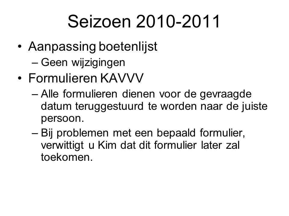 Seizoen 2010-2011 Aanpassing boetenlijst –Geen wijzigingen Formulieren KAVVV –Alle formulieren dienen voor de gevraagde datum teruggestuurd te worden