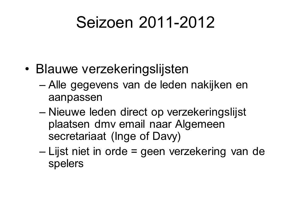 Seizoen 2011-2012 Blauwe verzekeringslijsten –Alle gegevens van de leden nakijken en aanpassen –Nieuwe leden direct op verzekeringslijst plaatsen dmv
