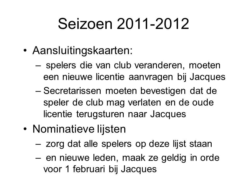 Aansluitingskaarten: – spelers die van club veranderen, moeten een nieuwe licentie aanvragen bij Jacques –Secretarissen moeten bevestigen dat de spele