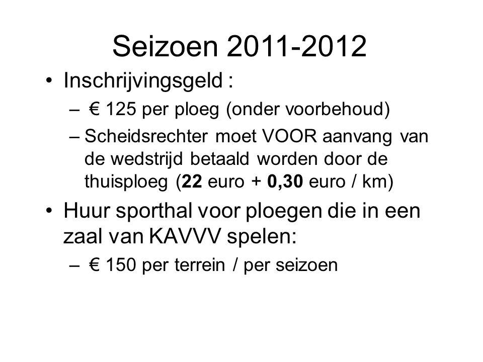 Inschrijvingsgeld : – € 125 per ploeg (onder voorbehoud) –Scheidsrechter moet VOOR aanvang van de wedstrijd betaald worden door de thuisploeg (22 euro