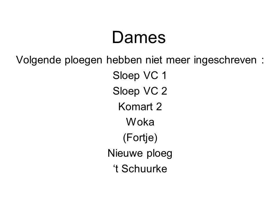Dames Volgende ploegen hebben niet meer ingeschreven : Sloep VC 1 Sloep VC 2 Komart 2 Woka (Fortje) Nieuwe ploeg 't Schuurke