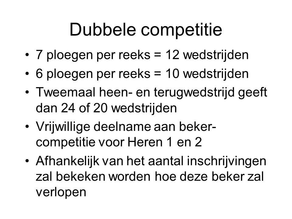 Dubbele competitie 7 ploegen per reeks = 12 wedstrijden 6 ploegen per reeks = 10 wedstrijden Tweemaal heen- en terugwedstrijd geeft dan 24 of 20 wedst