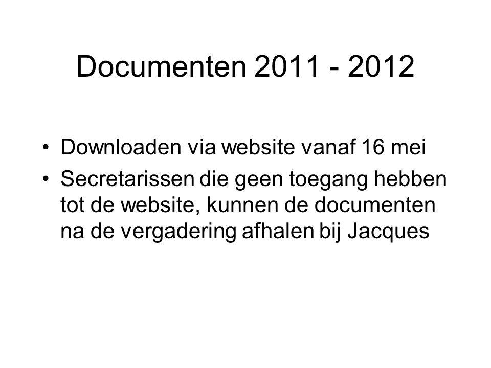 Documenten 2011 - 2012 Downloaden via website vanaf 16 mei Secretarissen die geen toegang hebben tot de website, kunnen de documenten na de vergaderin