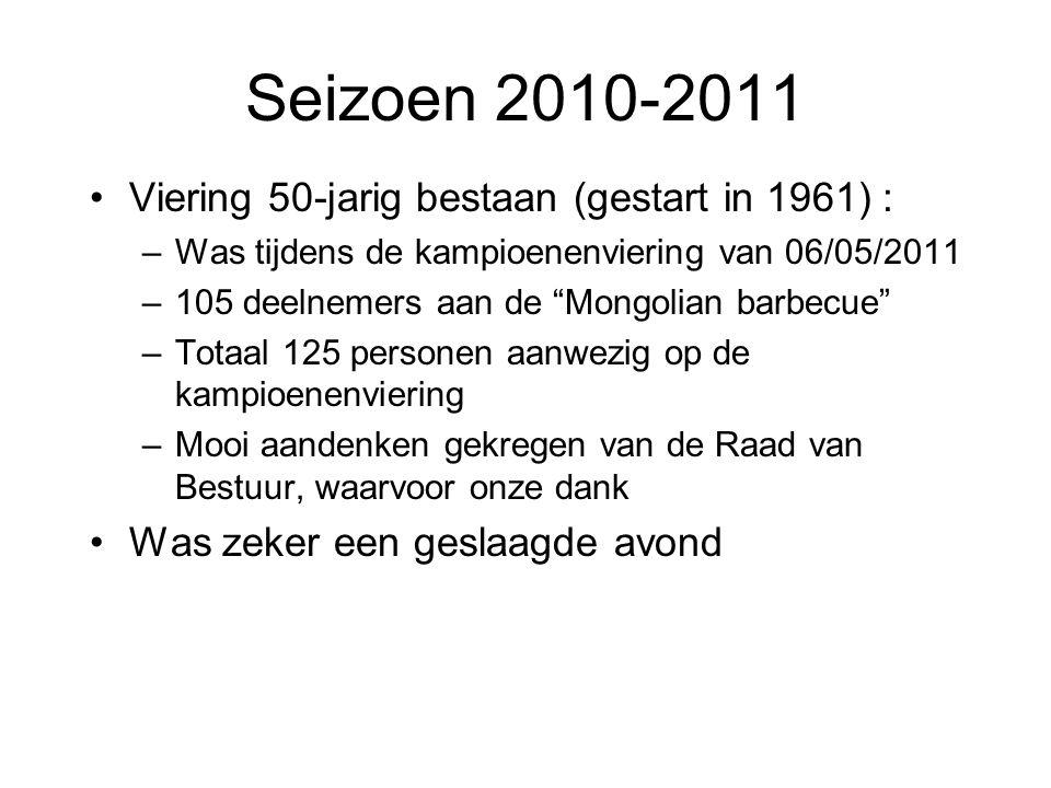 """Seizoen 2010-2011 Viering 50-jarig bestaan (gestart in 1961) : –Was tijdens de kampioenenviering van 06/05/2011 –105 deelnemers aan de """"Mongolian barb"""