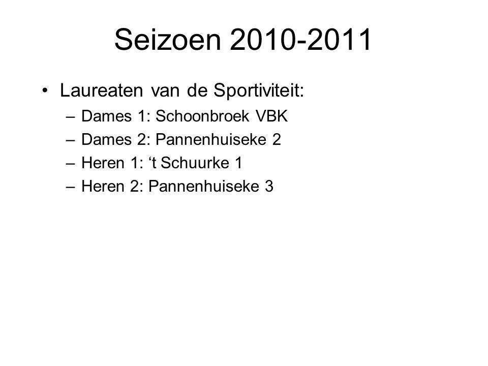 Seizoen 2010-2011 Laureaten van de Sportiviteit: –Dames 1: Schoonbroek VBK –Dames 2: Pannenhuiseke 2 –Heren 1: 't Schuurke 1 –Heren 2: Pannenhuiseke 3