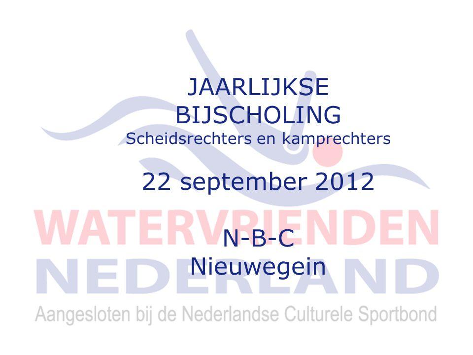 7 Voorstel indeling scheidsrechters 2012-2013 Masters 7 oktober 2012 te Haarlem Hans Bouwer 1 e LZK 11 november 2012 afd.