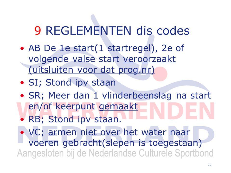 9 REGLEMENTEN dis codes AB De 1e start(1 startregel), 2e of volgende valse start veroorzaakt (uitsluiten voor dat prog.nr) SI; Stond ipv staan SR; Meer dan 1 vlinderbeenslag na start en/of keerpunt gemaakt RB; Stond ipv staan.