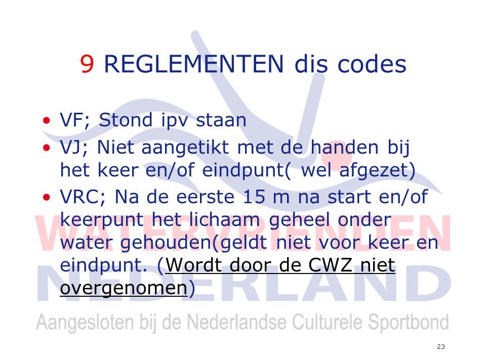 9 REGLEMENTEN dis codes VF; Stond ipv staan VJ; Niet aangetikt met de handen bij het keer en/of eindpunt( wel afgezet) VRC; Na de eerste 15 m na start en/of keerpunt het lichaam geheel onder water gehouden(geldt niet voor keer en eindpunt.