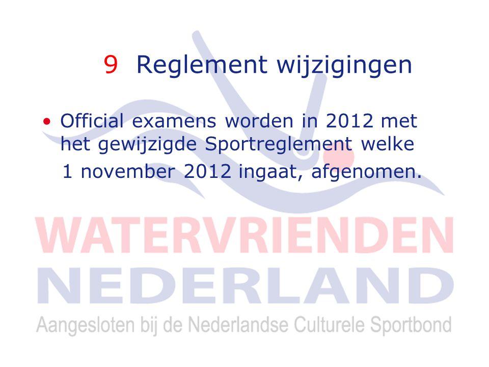 9 Reglement wijzigingen Official examens worden in 2012 met het gewijzigde Sportreglement welke 1 november 2012 ingaat, afgenomen.