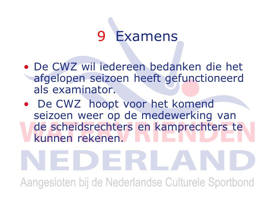 9 Examens De CWZ wil iedereen bedanken die het afgelopen seizoen heeft gefunctioneerd als examinator.