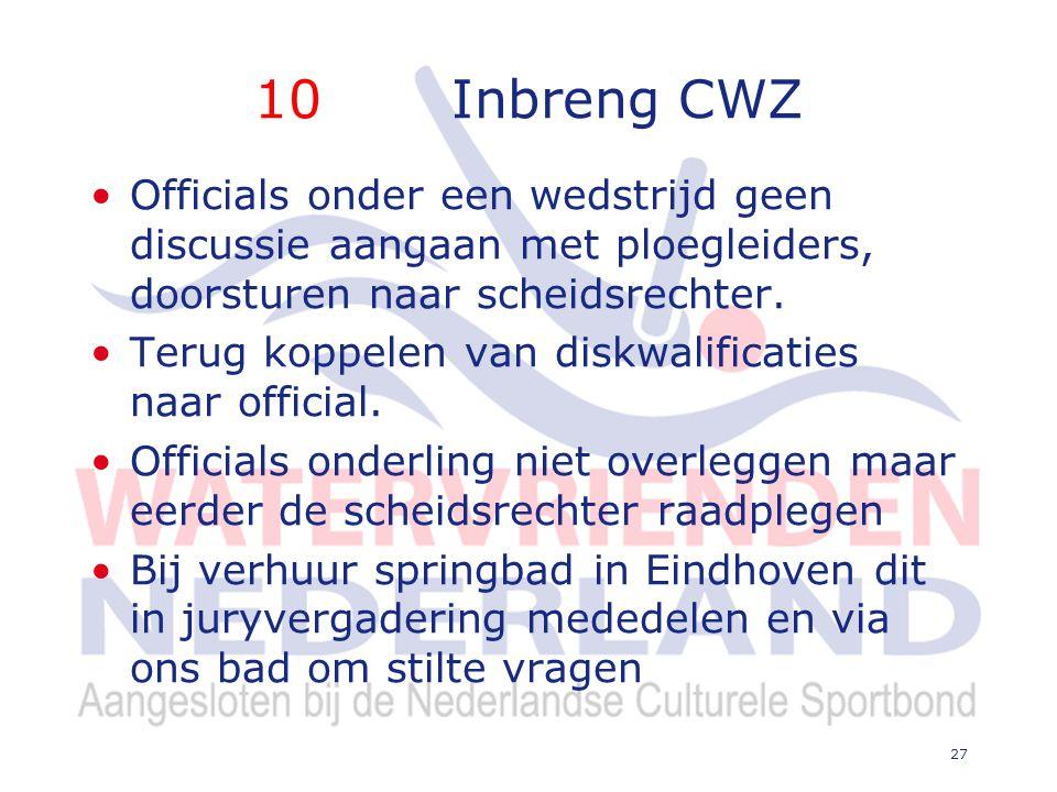 10 Inbreng CWZ Officials onder een wedstrijd geen discussie aangaan met ploegleiders, doorsturen naar scheidsrechter.