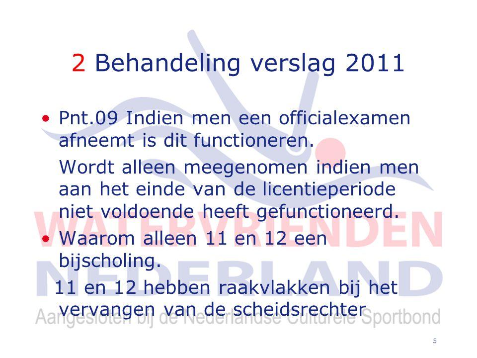2 Behandeling verslag 2011 Hoe kan de CWZ de scheidsrechters een up to date officiallijst voorzien.
